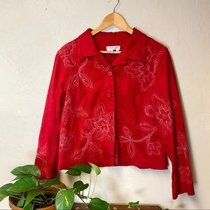 Beautiful Coldwater Creek Red Embroidered Jacket